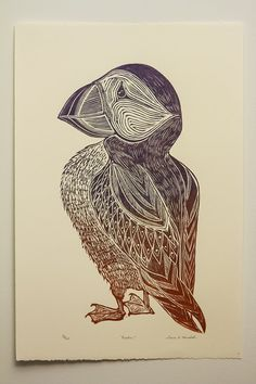 PUFFIN - hand carved, hand printed linocut by laurakmurdoch