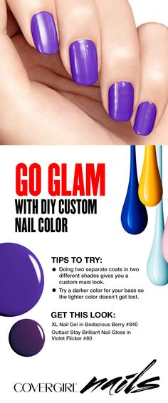 Try this DIY tip and create a custom nail color that looks like it's from a salon, right from your home. First apply a dark nail shade, then for your second coat apply a shade in a lighter color. Works for both manicures and pedicures!