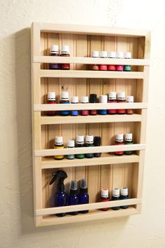 Essential Oil Display Rack Made of Poplar Wood with Beadboard Backing, 4 Shelves Essential Oil Rack, Essential Oil Storage, Doterra Essential Oils, Natural Essential Oils, Natural Oils, Farm Projects, Diy Sewing Projects, Mirror With Shelf, Mirror Shelves