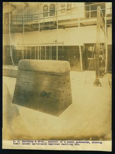 """""""A. G. Spalding and Brothers, exhibit of a model gymnasium, showing their latest up-to-date improved vaulting box."""""""