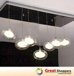 New Modern LED 7 Lights Glass Globe Ceiling Light Pendant Lamp Hanging Fixture | eBay - $200