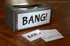 """Bang! Rhythm Game."""" The game is simple. You take turns drawing cards out of a container. If you can read the sight word you keep the card. If not, the card goes back in. Whoever collects the most cards wins the game. Beware of the BANG cards, though. If you draw one, you have to put back all of the cards you have collected."""" Concept could be used for anything."""