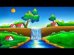 Beautiful Easy Scenery Drawing -Step by Step Nature Drawing For Kids, Easy Scenery Drawing, Drawing Sunset, Art Drawings For Kids, Easy Drawings, Village Scene Drawing, Oil Pastel Colours, Oil Pastels, Cartoon Garden