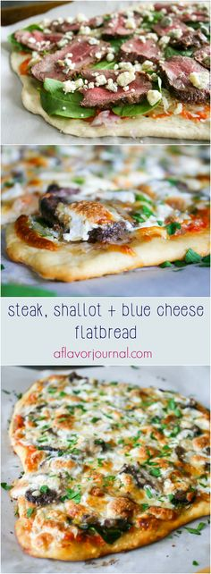steak, shallot, and blue cheese flatbread.  Simple dough rolled thin, topped with homemade crushed tomato sauce, then shallots, spinach, cheese blends, leftover filet, blue cheese, and mozzarella.  Baked to perfection and served hot! | a flavor journal Flatbread Toppings, Flatbread Recipes, Flatbread Pizza, Flatbread Ideas, Pesto Pizza, Pasta Recipes, Beef Recipes, Cooking Recipes, Yummy Recipes