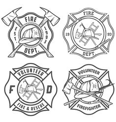 Firefighter Badge Template Set of fire department emblems Firefighter Logo, Firefighter Crafts, Firefighter Tattoos, Volunteer Firefighter, Firefighter Drawing, American Firefighter, Firefighters Wife, Police Logo, Fire Badge