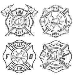 Firefighter Badge Template Set of fire department emblems Firefighter Logo, Firefighter Crafts, Volunteer Firefighter, Firefighter Tattoos, American Firefighter, Police Logo, Fire Badge, Badge Template, Maltese Cross