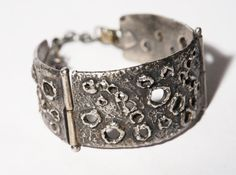Guy Vidal Bracelet - Surface of the Moon Cuff -  Brutalist Modernist Sculptural Abstract  - Mid Century - Signed
