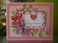 "Handmade Pink Paper Quilling Card ""Be Mine. Always and Forever"" with Quilled Flowers (Valentines day, Birthday, Anniversary) by FromQuillingWithLove"