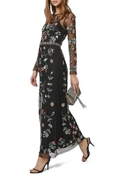 Topshop Jewel Embellished Illusion Sleeve Maxi Dress available at #Nordstrom