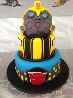 Fun cake at a Transformers Party #transformers #partycake