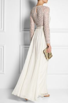 Back is cute, obvi, but front is way too plain. Temperley London|Angeli embellished silk-chiffon and tulle gown|NET-A-PORTER.COM