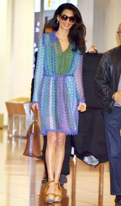 Amal Clooney arrived at the Haneda airport for the Tomorrowland premiere in a stylish jet-setting ensemble, which consisted of a colorful knit Missoni design and tan espadrille wedges. Celebrity Red Carpet, Celebrity Style, Amal Clooney, George Clooney, Inspirational Celebrities, Giovanna Battaglia, Style And Grace, Little Dresses, Star Fashion
