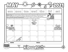 Print and customize your own May calendar! Tag @kidoodletv on Instagram to get featured! Anna Jarvis, Heritage Month, Print Calendar, Activity Sheets, Coloring Sheets, Some Fun, Being Used, Fun Activities, Printables