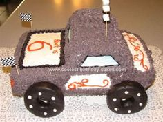 Homemade Monster Truck Birthday Cake: My son wanted a Monster Truck Birthday Cake.  I baked a 9X13 cake and two loaf pans.  I used the loaf pans to make the cab of the truck.  A monster truck