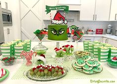 Adorable Grinch Cake Inspiration and Grinch Christmas Party Ideas! The Grinch makes an adorable Christmas party theme and this Merry Grinch-mas green Grinch cake will be the hit of your holiday celebration! Grinch Christmas Decorations, Grinch Christmas Party, Christmas Birthday Party, Christmas Party Decorations, Christmas Baby, Christmas Themes, Christmas Parties, Xmas Party Ideas, Winter Parties