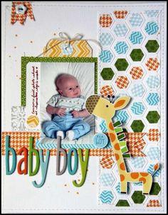 #papercrafting #scrapbook #layouts Baby Scrapbook Layout
