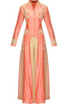 Shell pink embroidered U cut kurta with beige palazzo pants by Aneesh Agarwaal.     Shop now:  http://www.perniaspopupshop.com/designers/aneesh-agarwaal  #shopnow #perniaspopupshop #aneeshagarwaal