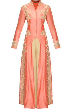 Shell pink embroidered U cut kurta with beige palazzo pants by Aneesh Agarwaal.     Shop now:  http://www.perniaspopupshop.com/designers/aneesh-agarwaal  #shopnow #perniaspopupshop #aneeshagarwaal