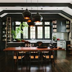Public library transformed into fresh and inviting home in Portland. (Image Courtesy of Jessica Helgerson Interior Design) Decor, Home, Black Kitchen Cabinets, Kitchen Design, Kitchen Design Trends, Home Library Design, Remodel, Mid Century Modern House, Inviting Home