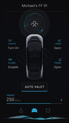 FF 91 Faraday Future App Interface 2017