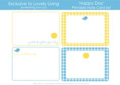 Printable - Spring Notecards - Lovely Living - Love The Life You're Living