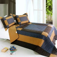 [Classics Harmony] 3PC Vermicelli-Quilted Patchwork Quilt Set (Full/Queen Size)