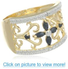 Yellow Gold Plated Sterling Silver Sapphire with Diamond-Accent Flower Ring #Yellow #Gold #Plated #Sterling #Silver #Sapphire #Diamond_Accent #Flower #Ring