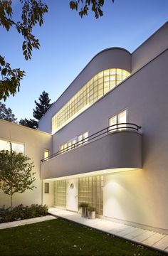 Art Deco House Numbers Exterior Modern with Concrete Path Curved Balcony