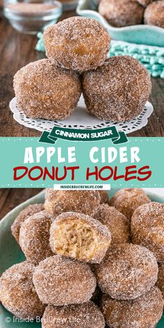 Apple Cider Donut Holes - three times the apple goodness & a buttery sugar coating will make these baked donut muffins disappear in a hurry. Great breakfast recipe to make for fall mornings!