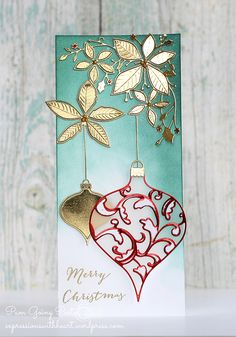 Pam Sparks copied the dies themselves in a toner printer, then foiled the shapes & die cut them to get these cool edges. There's also a vellum solid shape behind the red Eliana die cut.