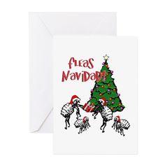 FLEAS NAVIDAD - Christmas   Greeting Cards on #CafePress #FleasNavidad #Navidad #Gravityx9  -