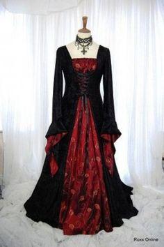 Red midieval Dress Painting | Black and Velvet Red Taffeta Medieval Gothic Wedding Dress. | Women ...