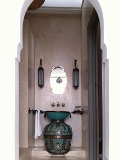 Riad Snan 13 Hotel in Marrakech, Morocco. Amazingly beautiful is this sink bowl above what I believe to be a Moroccan vase. Just perfect!