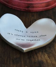 Personalized heart trinket dish with your own phrase: Awesome for Mother's Day