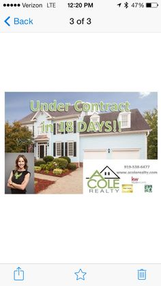 UNDER CONTRACT IN 18 DAYS!!   Do you want to know what your home is worth???? Call me!! 919-538-6477   Www.acolerealty.com  #sold #soldfast #undercontract #agent #realtor #realestate #apex #angiecole #acolerealty #kw #30under30