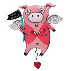 """This clock is a pre-order item, so please allow 3-6 weeks for delivery • measures 11″ x 16″ • hand-painted heart hands • swinging heart pendulum • cast in resin, finished by hand • requires """"AA"""" battery"""