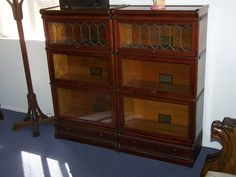 3/4 width /Matching set 3 stack -Globe Wernicke Mahogany with drawers  / SOLD