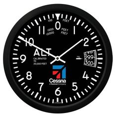 With all the details of an analog flight instrument, this Cessna Altimeter Round Clock is a great addition to your office, hangar, or home. Black Clocks, Quartz Clock Movements, Round Logo, Monogram Logo, Pointers, Instruments, Aviation, Gift, Ebay
