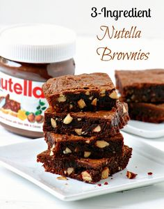 3-INGREDIENT NUTELLA BROWNIES - fudgy, nutty, yummy - everything I love in a brownie! These are also gluten-free (though you can also use regular flour). Be amazed at how easy and delicious it is!