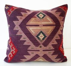 Sukan / SOFT Hand Woven - Turkish Kilim Pillow Cover - 16x16 $159.95