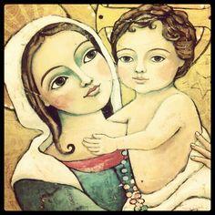 Madonna and Child ~ Teresa Kogut Original Paintings, Faith Art, Painting, Art, Catholic Art, Christian Art, Angel Art, Sacred Art, Angel Painting