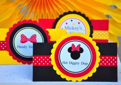 Minnie Mouse Tent Cards, Candy Buffet Labels, Food Tent Cards, Minnie Mouse inspired Birthday - set of 4