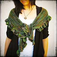 Ruffle Scarf Shawl, Hand Knit Hand Dyed Premium Merino Wool, Green Orange Gray, Colors of Ireland