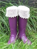 Picot and Netting Boot Sock, Liner, and Cuff Knitting Pattern Download