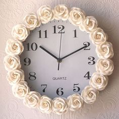 Rose Crafts - Rose Inspired Clock - Easy Craft Projects With Roses - Paper Flowe. - Rose Crafts - Rose Inspired Clock - Easy Craft Projects With Roses - Paper Flowe. Rose Crafts - Rose Inspired Clock - Easy Craft Projects With Roses. Rose Crafts, Diy And Crafts, Kids Crafts, Glitter Crafts, Decor Crafts, Art Decor, Dollar Store Crafts, Dollar Stores, Craft Stores