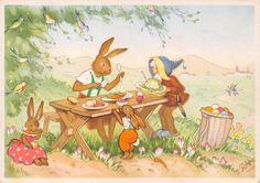 AK Ostern Zwerg mit Hase Kinder Ostereier Postkarte sig. RAA von Charlotte Baron in Sammeln & Seltenes, Ansichtskarten, Motive | eBay