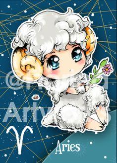 Chibi Starsigns - Aries by Fiorina-Artworks on deviantART- CLS Aries Art, Aries And Scorpio, Zodiac Signs Aries, Zodiac Art, 12 Zodiac, Astrology Zodiac, First Zodiac Sign, Zodiac Characters, Anime Zodiac