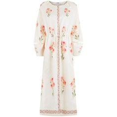 Vilshenko Watercolour Rose Silk Penny Dress (5.070 RON) ❤ liked on Polyvore featuring dresses, multi, flower print dress, floral print dress, white embroidered dress, long white dress and print dress