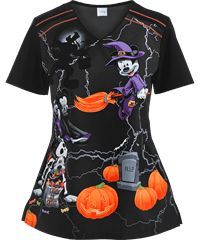 Cherokee Tooniforms Scrubs Witching Hour Print Top