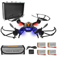 PYS F181 RC Quadcopter with 720p HD Camera Wifi FPV Drone with Altitude Hold Function, RTF Helicopter with Portable Aluminum Case, 4 Batteries, 4in1 Charger, Explosion-proof Battery Safe Bag (Black) * Want to know more, click on the image.